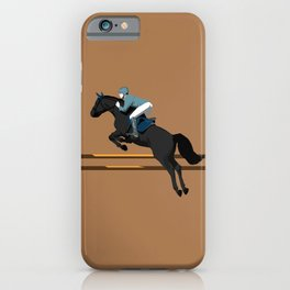 Jumping Black Horse and a Man iPhone Case