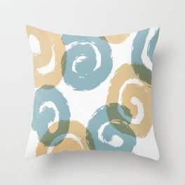 Brush Spirals Tan and Steel Throw Pillow