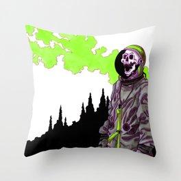 Silent Scream - Green Throw Pillow