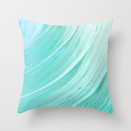 watercolor teal waves Throw Pillow