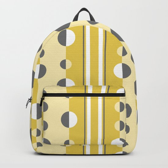 Circles and Stripes in Mustard Yellow and Gray by fischerfinearts