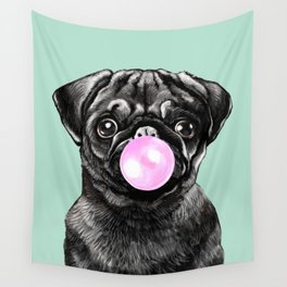 Bubble Gum Popped on Black Pug (1 in series of 3) Wall Tapestry
