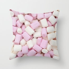 Pink and white mini marshmallows Throw Pillow