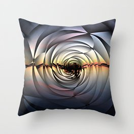 Island Sunset on Abstract Rose Throw Pillow
