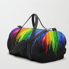 Rainbow Paint Drops on Black Duffle Bag
