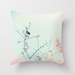 Pink Flower Green Bird Throw Pillow
