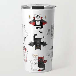 Horror Cats and mouses. Cute witch, vampire, angel and demon Travel Mug