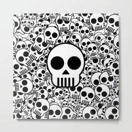 Skull Texture Black White Surface Metal Print