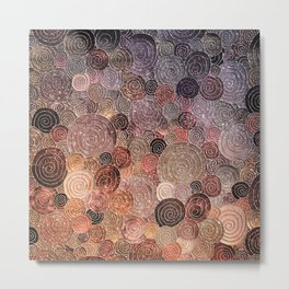 Abstract brown glamour glitter circles and dots for Girls and ladies Metal Print