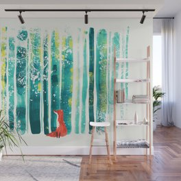 Fox in quiet forest Wall Mural