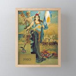1910 Fernet Branca Liqueur Aperitif Advertisement Poster Print Framed Mini Art Print