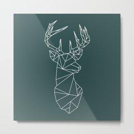 Geometric Stag (White on Slate) Metal Print