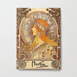 Alphonse Mucha Zodiac La Plume Metal Print