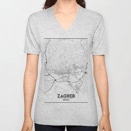 Minimal City Maps - Map of Zagreb Unisex V-Neck