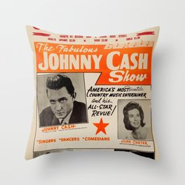 1967 Johnny Cash, Carter Family, Carl Perkins at Springfield Shrine Mosque Concert Poster Throw Pillow
