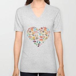 Mushroom heart Unisex V-Neck