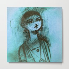 Charcoal Blue Metal Print