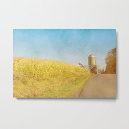 Golden Yellow Cornfield and Barn with Blue Sky Metal Print