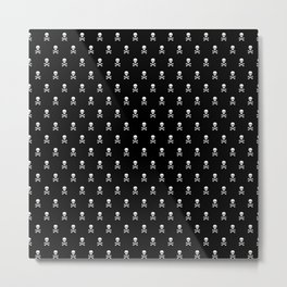 SKULLS PATTERN - BLACK & WHITE - LARGE Metal Print