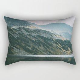 Moody Mountain Hill And Lake   Dark Landscape Rectangular Pillow