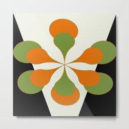 Mid-Century Modern Art 1.4 - Green & Orange Flower Metal Print