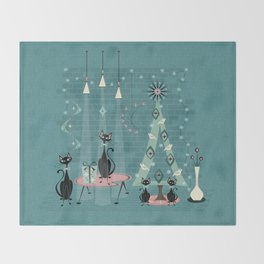 Vintage Cat Family Holiday Throw Blanket