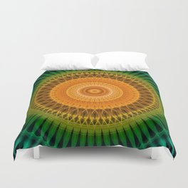 Green and yellow spikes mandala Duvet Cover