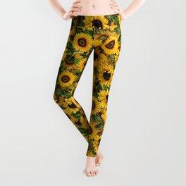 Vintage & Shabby Chic - Noon Sunflowers Garden Leggings