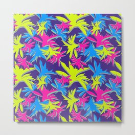 Flourescent boho leaves botanical pattern design Metal Print