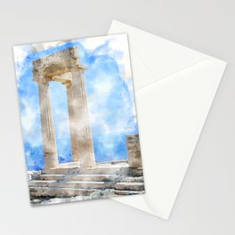 acropolis by the sea in lands Stationery Cards