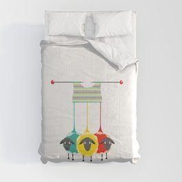 Knitting sheep bright and funny concept Comforters
