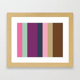 HAPPINESS: Hot Pink, Aquamarine, Purple, Purple, Indigo, Nadeshiko Pink, Ecru, Sepia, Sepia. Framed Art Print