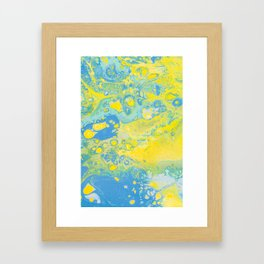 Fluid Art Acrylic Painting, Pour 36, Yellow, Green & Blue Blended Color Framed Art Print