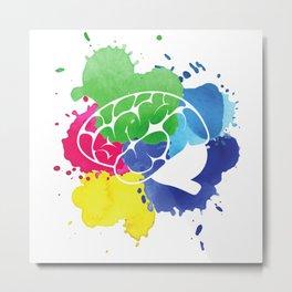 School Psychologist with Brain Metal Print