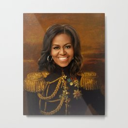 Michelle Obama Poster, Classical Painting, Regal art, General, First Lady, Democrat, Political Metal Print