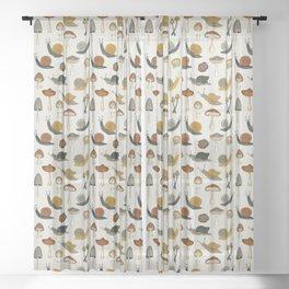 mushrooms & snails Sheer Curtain