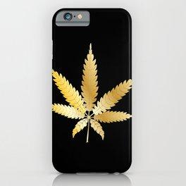 Gold Cannabis Leaf iPhone Case