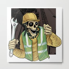 mechanical engineering skull Metal Print