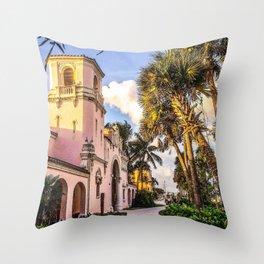 Tropical Railroad Station Throw Pillow