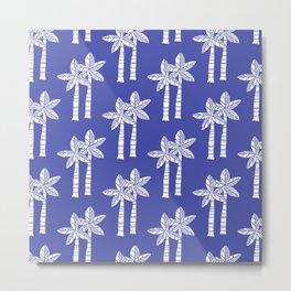Palm Tree Pattern Blue 2 Metal Print