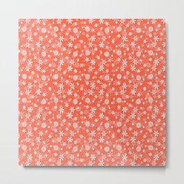 Festive Living Coral Orange Pink and White Christmas Holiday Snowflakes Metal Print