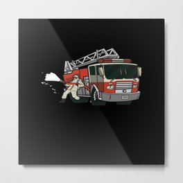 Firefighters Car Children Metal Print