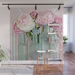 Peonies Shabby Chic Cottage Pink Aqua Peony Bottles Art Print Home Decor Wall Mural