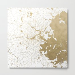 Boston White and Gold Map Metal Print