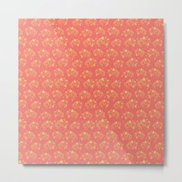 Doodle flowers yellow on a coral background Metal Print