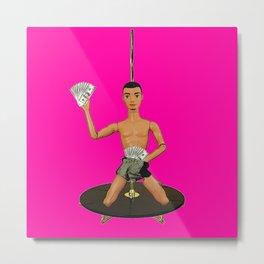 Pole Dancing Chippendale! Funny Gay Pop Art! Metal Print