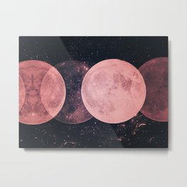 Pink Moon Phases Metal Print