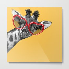Hipster Giraffe with Glasses Metal Print