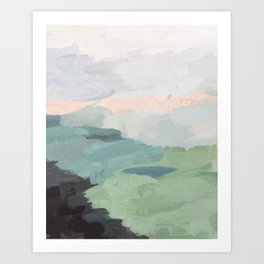 Seafoam Green Mint Black Blush Pink Abstract Nature Land Art Painting Art Print