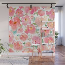Pink Peonies Watercolor Pattern Wall Mural